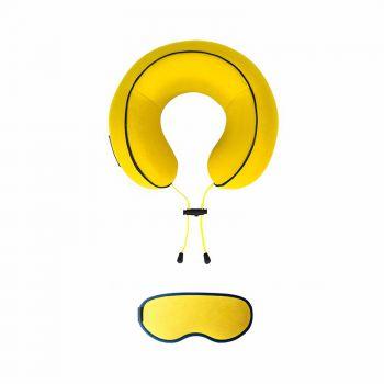 URBAN FOREST记忆棉时尚花卷颈枕加眼罩套装 姜黄色