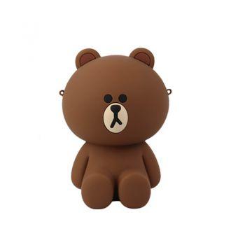 LINE FRIENDS硅胶公仔链条斜挎包 布朗熊
